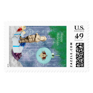 Holiday Postage Vintage Boy with Fairy