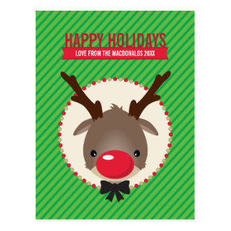 HOLIDAY POSTCARD :: red nosed reindeer rudolf