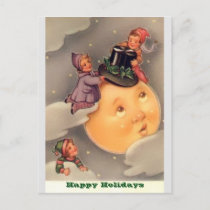 Holiday Postcards: Vintage Whimsical Moon & Kids