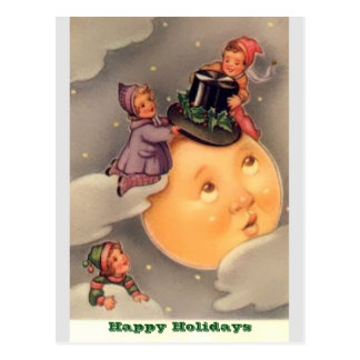 Holiday Postcards: Vintage Whimsical Moon & Kids Postcard