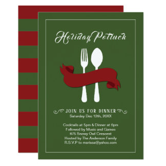 Potluck christmas party invitations announcements zazzle holiday potluck dinner invitation stopboris Choice Image