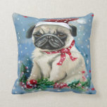 Holiday Pug Pillow Blue