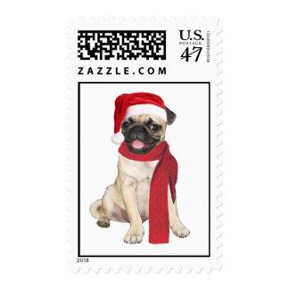 Holiday Pug Postage Stamp