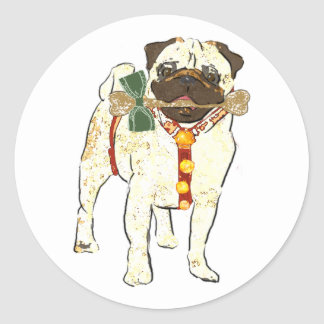 Holiday Pug Round Stickers