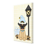Holiday Pug with present (blue) Stretched Canvas Prints