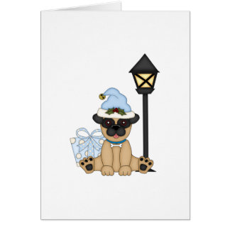 Holiday Pug with present blue Card