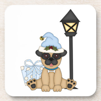 Holiday Pug with present (blue) Coasters