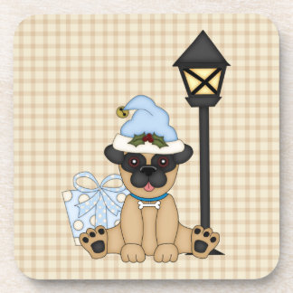 Holiday Pug with present (blue) Coaster