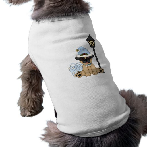 Holiday Pug with present (blue) Dog T Shirt