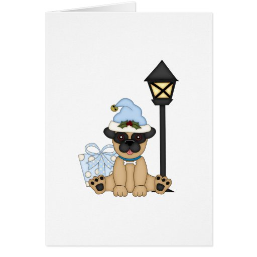 Holiday Pug with present (blue) Greeting Card