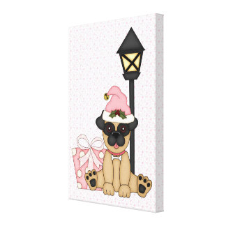 Holiday Pug with present pink Gallery Wrap Canvas