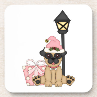 Holiday Pug with present (pink) Beverage Coaster