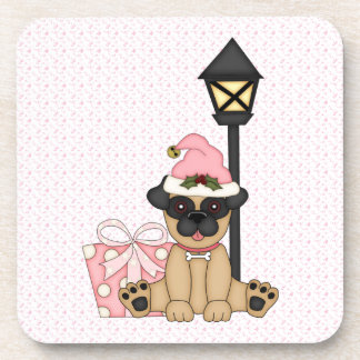 Holiday Pug with present (pink) Coaster