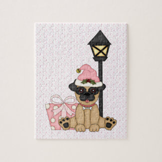 Holiday Pug with present pink Jigsaw Puzzle