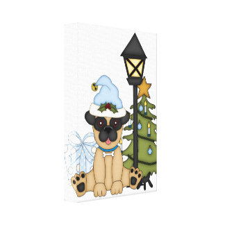 Holiday Pug with Tree blue Gallery Wrap Canvas