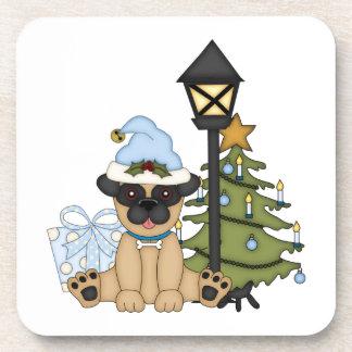 Holiday Pug with Tree (blue) Beverage Coaster