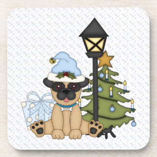 Holiday Pug with Tree (blue) Beverage Coasters
