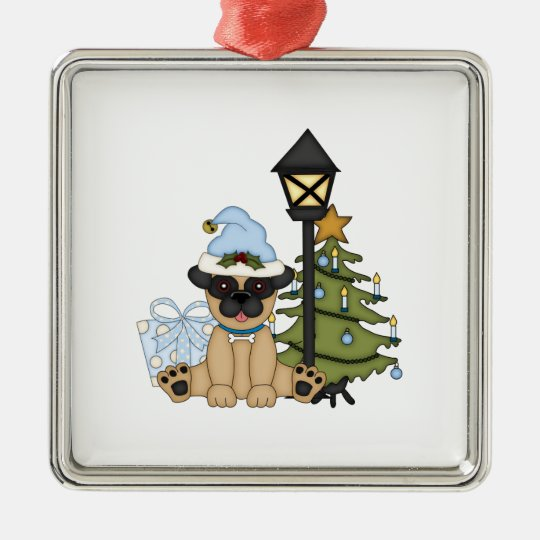 Holiday Pug with Tree (blue) Metal Ornament