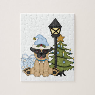 Holiday Pug with Tree blue Jigsaw Puzzle