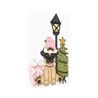 Holiday Pug with Tree pink Gallery Wrapped Canvas
