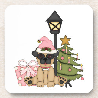 Holiday Pug with Tree pink Beverage Coasters