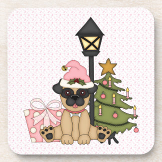 Holiday Pug with Tree (pink) Drink Coasters