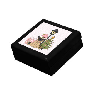 Holiday Pug with Tree pink Jewelry Boxes