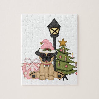 Holiday Pug with Tree pink Puzzles