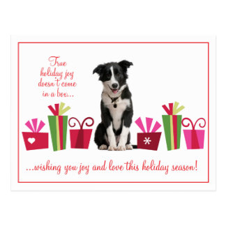 Holiday Puppy with Gifts Postcard