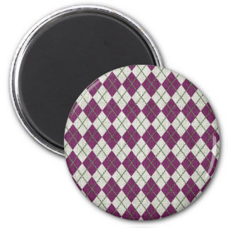 Holiday Purple Green Linen Argyle Pattern Magnets