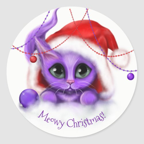 Holiday Purple Kitty Meow Classic Round Sticker