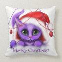 Holiday Purple Kitty Meow Throw Pillow