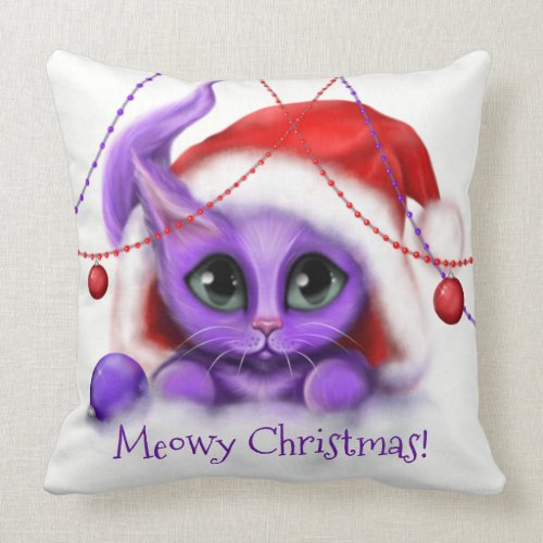 Holiday Purple Kitty Meow Throw Pillow