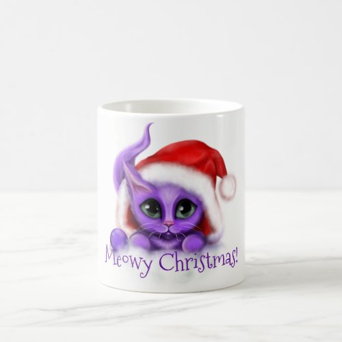 Holiday Purple Kitty Meowy Christmas Coffee Mug