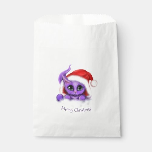 Holiday Purple Kitty Meowy Christmas Favor Bag