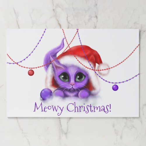 Holiday Purple Kitty with Santa Hat Paper Pad