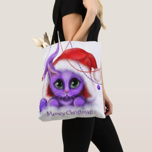 Holiday Purple Kitty with Santa Hat Tote Bag