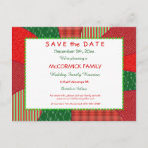 Holiday Quilt-Party, Family Reunion Save the Date Announcement Postcard