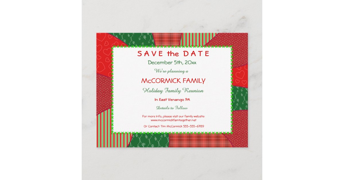 Holiday Quilt-Party, Family Reunion Save the Date Announcement ...