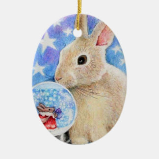 Holiday Rabbit with Snowglobe Ornament