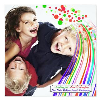 "Holiday Rainbow - Photo Holiday Card 5.25"" Square Invitation Card"