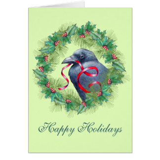 Holiday Raven Crow Card