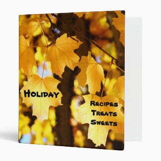 Holiday Recipes binders Golden Yellow Leaves