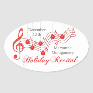 Holiday Recital, Red Lace Oval Sticker