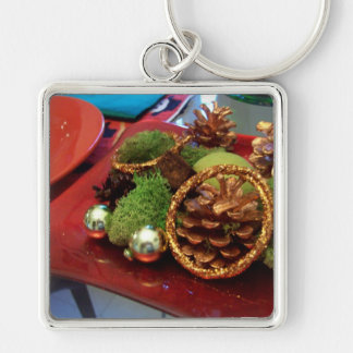 Holiday red and green keychain