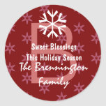 Holiday Red and Pink Stars and Monogram Stickers