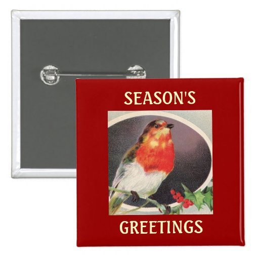 Holiday Red Bird Button