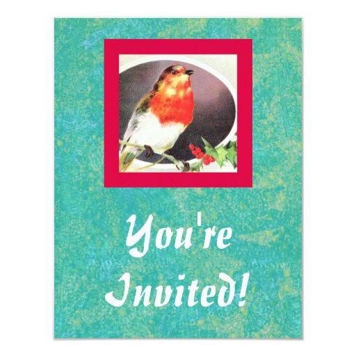 "Holiday Red Bird invitation 4.25"" X 5.5"" Invitation Card"