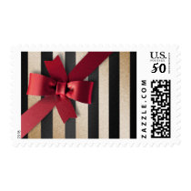 Holiday Red Bow Black Gold Stripe Postage Stamp