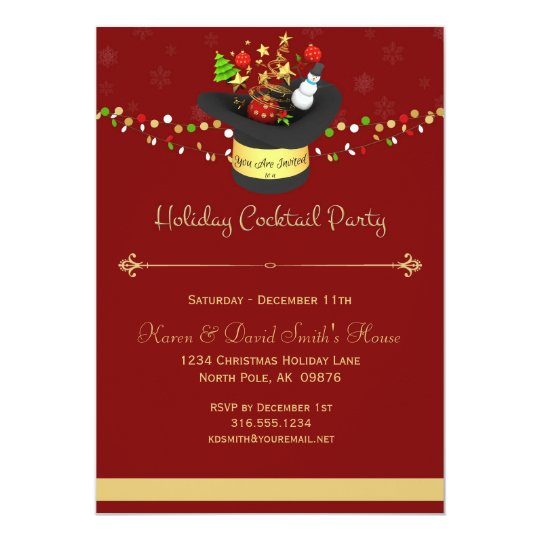 Holiday Red Cocktail Party Invitation